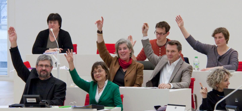 Unsere Fraktion stimmt in einer Landtagssitzung ab © Janosch Raßmann / Fraktion