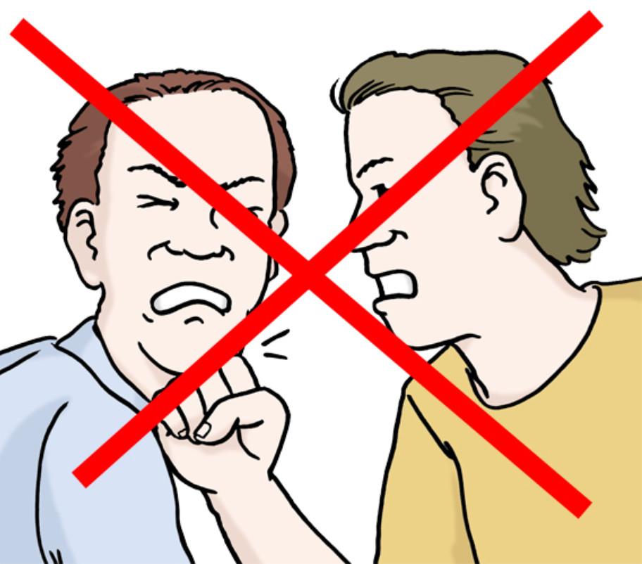 Illustration: Ein Mann schlägt einen anderen. Die Illustraton ist mit zwei roten Strichen durchgestrichen
