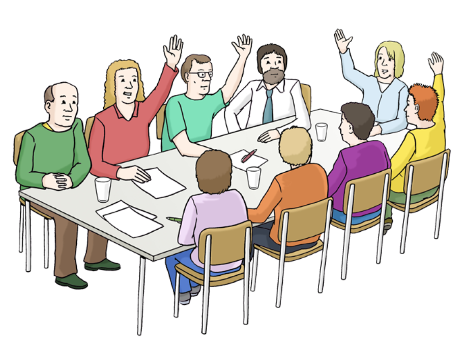Illustration: Menschen sitzen um einen Tisch und stimmen ab, vier von neun Personen melden sich