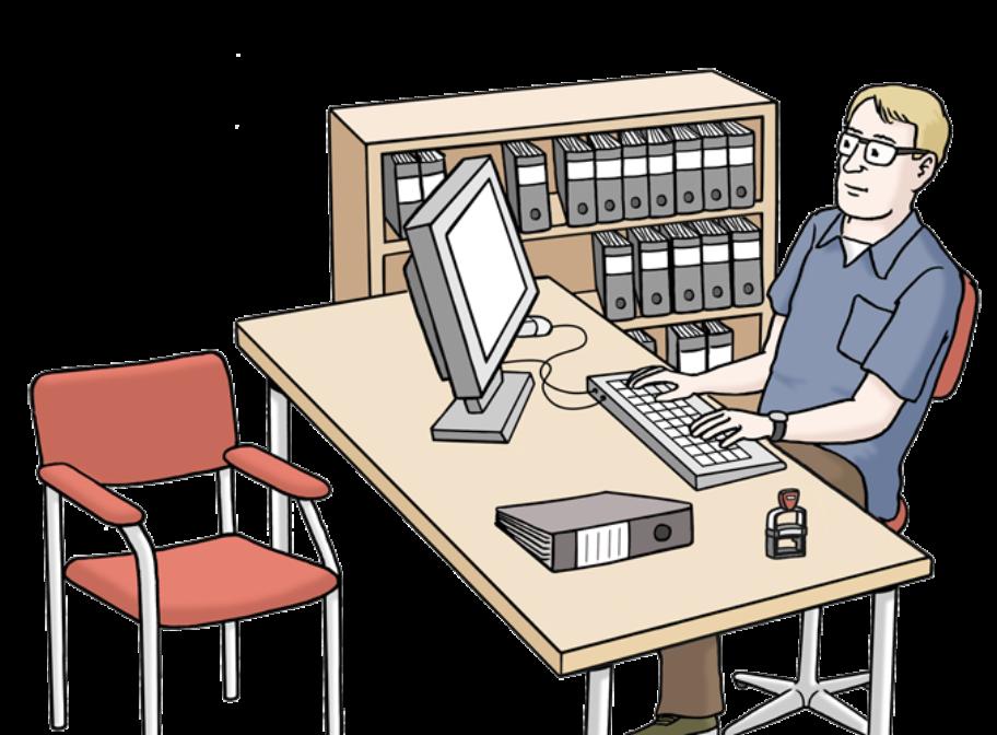 Illustration: Mensch sitzt am Computer am Schreibtisch, Aktenschrank im HIntergrund und freier Sitz ihm gegenüber