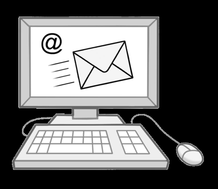 Illustration eines Desktopcomputers mit einem E-Mailsymbol auf dem Monitor