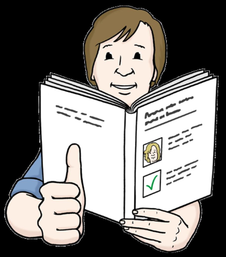 Illustration Mensch, der ein Buch liest und den Daumen hoch zeigt