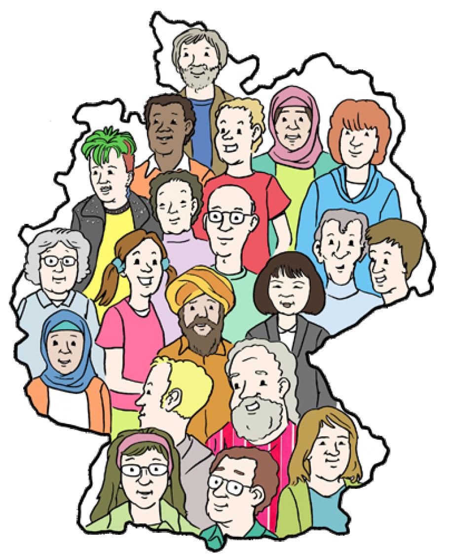 Umriss von Deutschland, im Umriss Büsten vieler Menschen unterschiedlicher Geschlechter, Hautfarben usw. Diversität in Deutschland