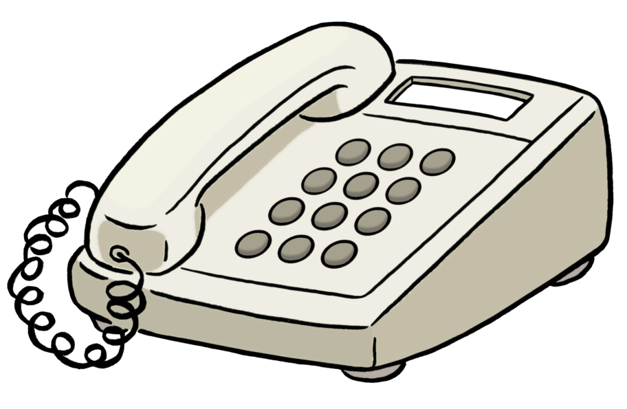 Grafik: Telefon mit Tasten und Hörer