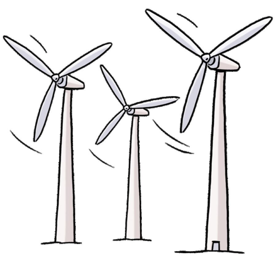 Drei gezeichnete Windräder