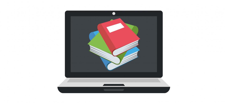 Bücher auf Bildschirm