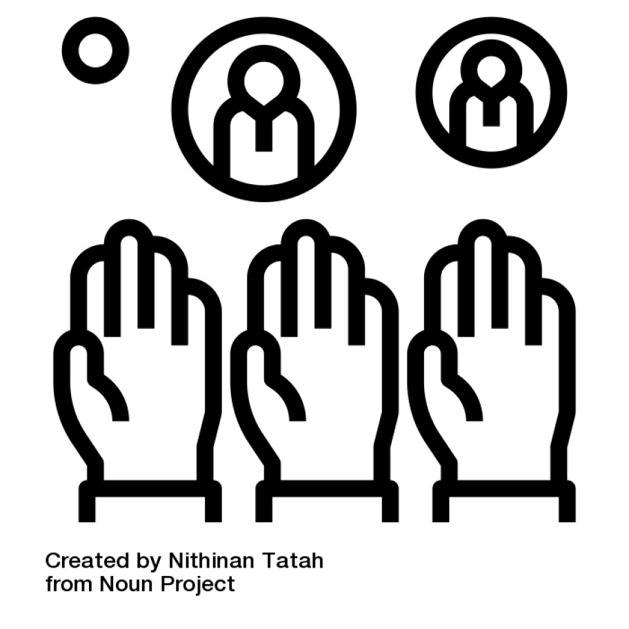 Vote by Nithinan Tatah from the Noun Project: Three hands in the air