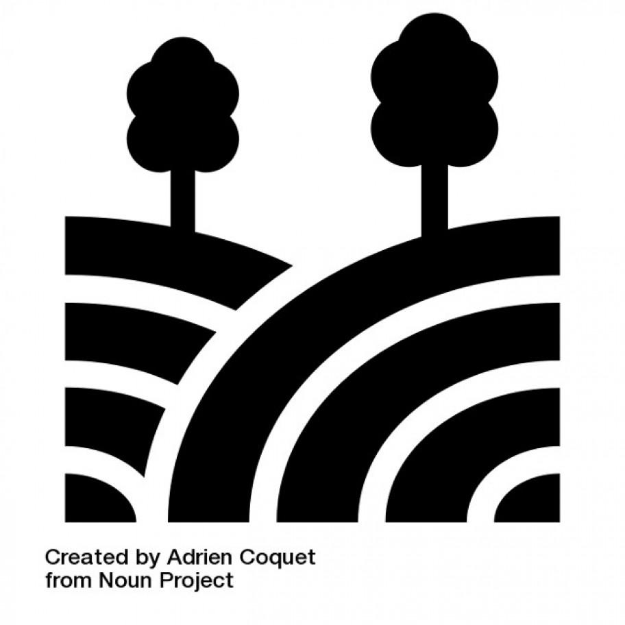 Illustration zwei Bäume und Straßen © Adrien Coquet The Noun Project