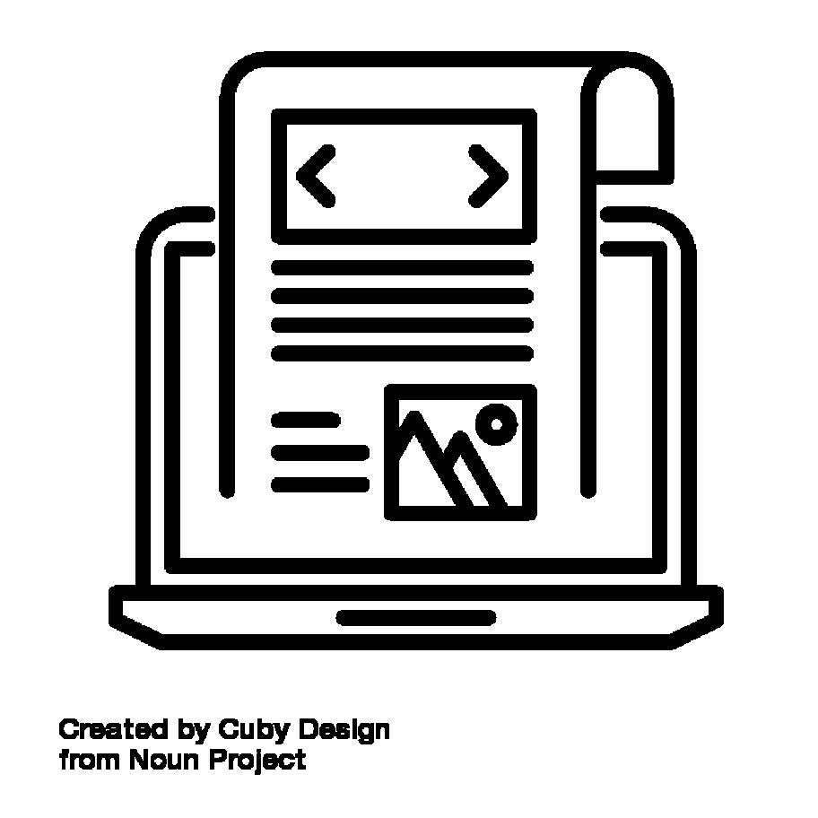 Icon: Laptop aus dem eine Zeitung kommt. Blog by Cuby Design from the Noun Project 1625122