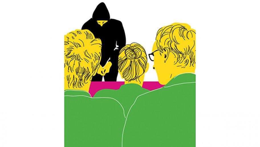 Illustration: Zeugenverhör im NSU-Untersuchungsausschuss © Kristina Heldmann/Zitrusblau