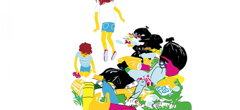 Illustration: Kinder spielen auf illegaler Müllhalde © Kristina Heldmann/Zitrusblau
